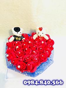 Trái tim mek hoa sáp thơm màu ...