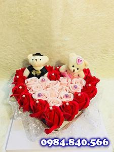 Trái tim meka hoa hồng sáp thơm ...