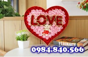 Trái tim 99 hoa hồng sáp thơm ...